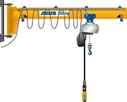 Cầu trục áp tường bốc xếp thiết bị nhỏ trong xưởng sản xuất cơ khí hay xưởng gia công Cầu trục áp tường 1 tấn, 2 tấn, 3 tấn, 5 tấn... Tầm với đạt lớn nhất tới 10 m Thông số kỹ thuật
