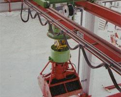 Cầu trục gầu ngoạm là thiết bị bốc xếp vật liệu rời như than đá, quặng sắt. Cầu trục gầu ngoam 1m3, 3 m3...
